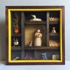 Vtg Curio Cabinet Display Case Shadow Box Florio Items Doll Duck Mouse Etc