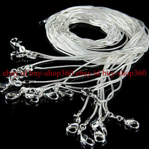 10PCS Wholesale 925 Sterling Solid Silver 1mm Snake Chain Necklace