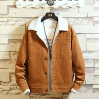 Winter Men's Vintage Corduroy Jacket Cashmere Lined Sherpa Coat Outwear Bomber