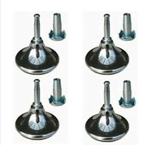12x Chrome Feet Leg Glides Castors & Insert For Divan Bed Base Sofa Settee Chair