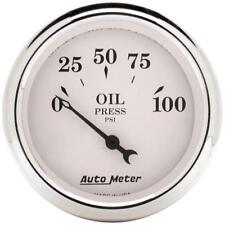 """Auto Meter Oil Pressure Gauge 1628; Old-Tyme White 0-100 psi 2-1/16"""" Electrical"""