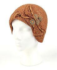 c.1920's VINTAGE NATURAL STRAW WOVEN FLAPPER JULIET CAP CLOCHE HAT FELT FLOWERS