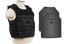 Body Armor AR500 Steel Plates Base Coating Bullet Proof Vest BLK M-XXL+ 10x12s