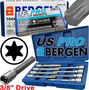 """BERGEN Extra Long Star Torx Bit Socket Set 3/8""""Dr 8pc T25 T27 T30 T40 T50 T55T60"""