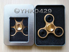 Gold Tri-Spinner Fidget Toy Metal EDC Hand Finger Spinner For Autism and ADHD