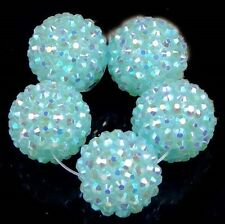 20mm Blue Acrylic Resin AB Rhinestone Round Ball Beads (5)