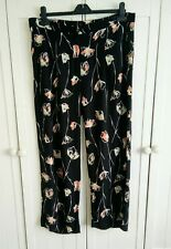 Next Black Mix Floral Wide Leg Summer Trousers, Size 12