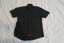 Independent Truck Co. Skateboard Black Button Front Short Sleeve Shirt Small