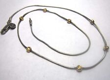 "Silpada 17"" Sterling Silver 14K Gold Filled Bead Stations Snake Necklace N0673"