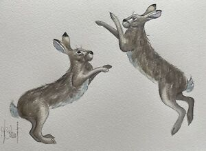 HARES ORIGINAL(Not a Print) A4 Watercolour Painting by A.Jolivet /Christmas Gift