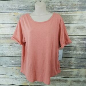 Zella NWT Size L Scoop Back Tee Coral Clay Athleisure Active 1T
