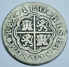 1730 Spanish Silver 1 Reales Genuine Antique 1700s Colonial Pirate Treasure Coin