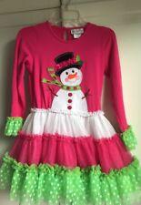 Boutique Emily Rose Snowman Fushia Pink &  Green Tulle Top & Leggings Size 8 EUC