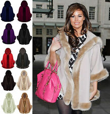 Ladies Celeb Womens Winter Faux Fur Trim Hooded Poncho Cape Shawl Coat One Size