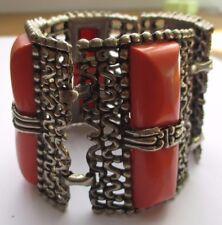 Originale beau large bracelet bijou rétro couleur argent cabochon orange 1721
