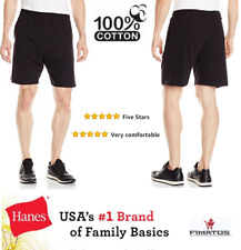 Hanes Men's Cotton Jersey Short With Pockets,W/elastic Waist , Black, 1X Big