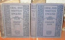 Set 2 Antique ENGLISH SCHOOL BOOK Lot PRIMER by POTTER 1921 Ginn & Co ELVES +