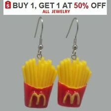 FRENCH FRIES Earrings 3D Colorful FOOD Charm Silver Hooks Dangle Fast Food