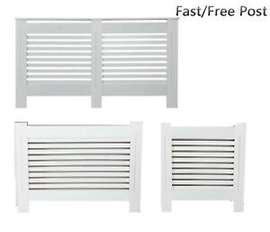 Radiator Cover Cabinet White Traditional Modern  MDF Slat Wood Grill Furniture