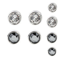 Solid 925 Sterling Silver 4mm 5mm 6mm 7mm 8mm CZ Round Bezel Clear / Black Stud