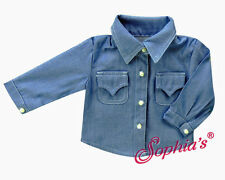 "Blue Chambray Blouse Western for 18"" American Girl & Boy Doll Clothes"