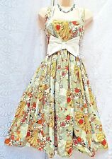 ELECTRIC GYPSY Hand Made Repo Vintage 50s Dress Fan Design Cotton Fabric size 8