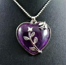 Silver Rose/Purple Heart Pendant Necklace w/Free Jewelry Box and Shipping