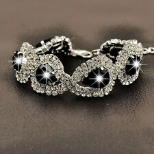 Shiny Silver Plated Water Drop Austrian Black Crystal Bracelets Bridal Gift