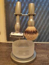 Merkur Solingen Vision 2000 Razor Set, Razor, badger brush, bowl and stand