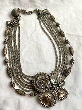 Rare 50's Vintage Signed Miriam Haskell White Metal Rhinestone Necklace Class A