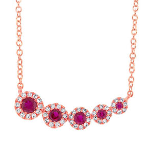 Womens 14K Rose Gold Natural Round Ruby Diamond Pendant Necklace Curved Bar