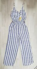 LIPSY size 8 white POOL PARTY JUMPSUIT blue STRIPE casual SUMMER holiday STRIPED