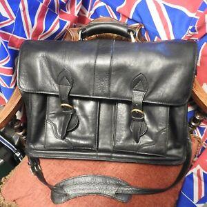 Designer  Hidesign Black  Leather Briefcase Laptop Bag  Cross Body Top Quality
