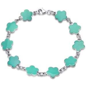 "Turquoise Flower .925 Sterling Silver Bracelet 7"""