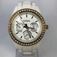 Fossil Womens ES2869 White Crystal Accent Chronograph Quartz Analog Watch