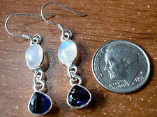 Faceted Iolite and Rainbow Moonstone Earrings 925 Sterling Silver Dangle Drop