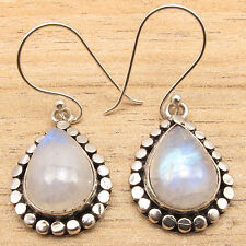 Blue Fire RAINBOW MOONSTONE Drop Earrings Silver Plated OLD STYLE ETHNIC Jewelry