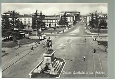 vecchia cartolina di brescia piazza garibaldi e via milano
