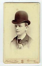 Victorian cdv photo young man bowler hat Sutton Surrey photographer