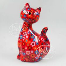 POMME PIDOU - exklusive Spardose - Keramikfigur KATZE CARAMEL rot / Blumen