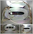 OVERSIZE VINTAGE Style SUN GLASSES Upside Down Gold Frame Clear Lens slight Tint