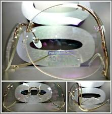 OVERSIZE VINTAGE Style SUN GLASSES Upside Down Gold Frame Clear Lens slight Tint