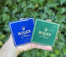 Lot of 2 Vtg Rolex Watch Display Case Signs Store Advertisements Vinyl Card Blue