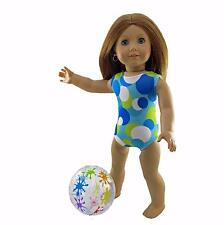Doll Clothes Swim Bathing Suit Dots with Beach ball fits 18 inch American Girl
