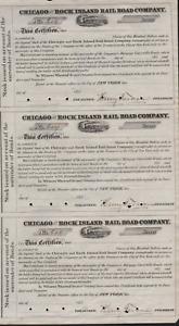 3 Stks Chicago & Rock Island RR 185- s/p Henry Farnum  Stocks for bond surrender
