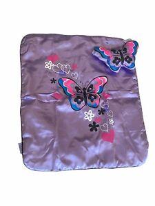 "Build A Bear Plush Blanket Purple Butterfly 15"" x 17"" Pillow Set"