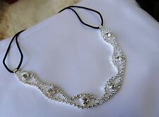 Swarovski Crystal headband Elastic Stretch Hair Band Silver Gift Prom Wedding