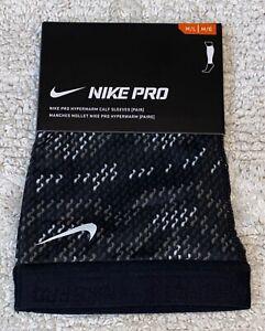 NIKE Pro Hyperwarm Printed Calf Sleeves Pair Black Grey White NEW Womens M / L