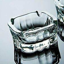 Crystal Glass Large Cigar Ashtrays, Decorative Clear Ash Tray for Cigarettes x2