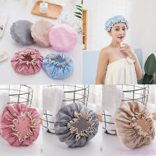 Vintage Girls Elastic Reusable Shower Cap Bath Hat Waterproof Bathroom Hair Care